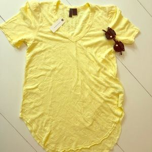 Textured Anthropologie T-shirt in Yellow